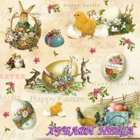 Салфетка- V008 Happy Easter Animals