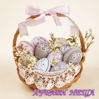Салфетка- V010 Traditional Easter Basket with Lace