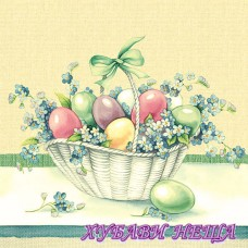 Салфетка- V011 Easter Eggs In Bucket Yellow