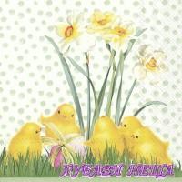 Салфетка- V021A Пиле през пролетта