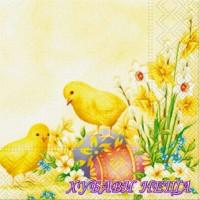 Салфетка- Великденски пилета и цветя V432