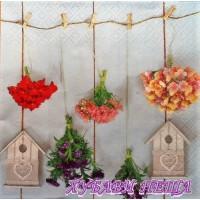 Салфетка- 0289 Bird Houses & Garden Flowers
