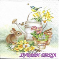 Салфетка- 330 Bunny with Watering Can