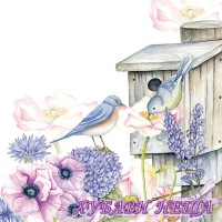 Салфетка- 654 Birdhouse Backyard
