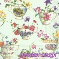 Салфетка- Чаена чаша с цветя на зелен фон 754