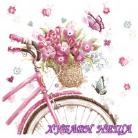 Салфетка- 1020 Pink Bicycle with Basket